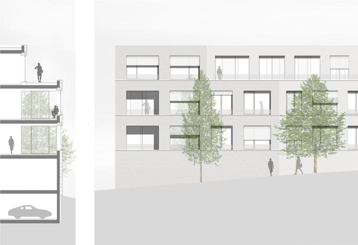Wohnen im Vincenti_Fassadenschnitt