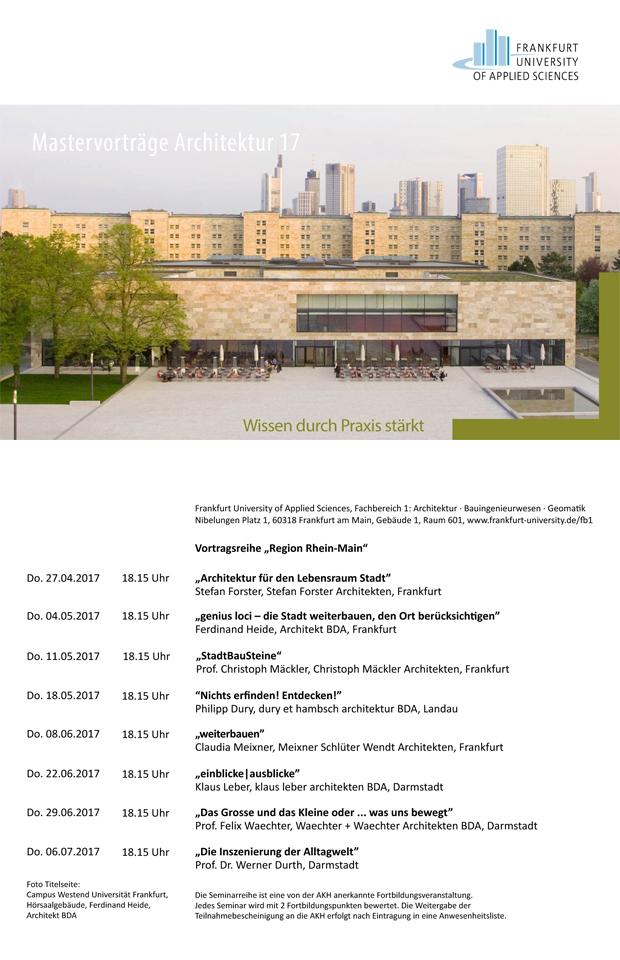 Mastervortragsreihe Frankfurt